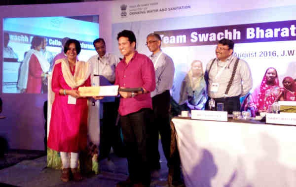 Swachh Bharat Ambassador Sachin Tendulkar at an interactive session with the Swachh Bharat Champions Collectors from 22 States, through video conferencing, in New Delhi on August 25, 2016