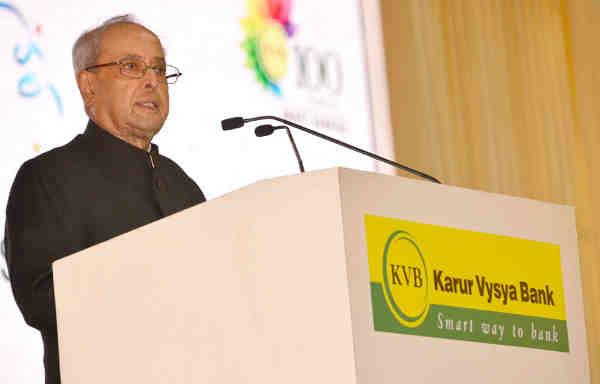 Pranab Mukherjee addressing at the Centenary Celebrations of the Karur Vysya Bank, in Chennai, Tamil Nadu on September 10, 2016