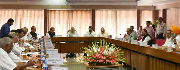The Union Home Minister, Rajnath Singh chairing a preparatory meeting before the visit of All-Party Delegation to Jammu and Kashmir (September 4-5), in New Delhi on September 03, 2016