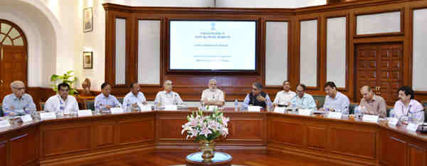 Narendra Modi chairing the meeting to review steps towards holistic development of islands, in New Delhi on September 20, 2016