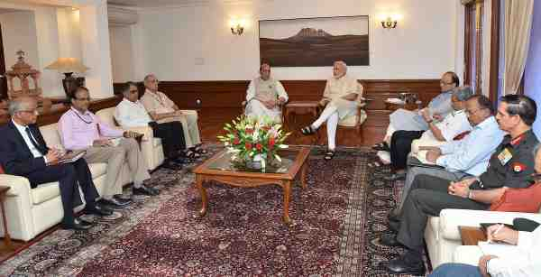 Narendra Modi holding a high-level meeting in New Delhi on September 19, 2016 to assess the situation after the Uri attack on Indian army.