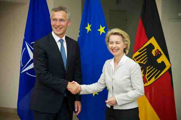 NATO Secretary General Jens Stoltenberg with German Defence Minister Ursula von der Leyen