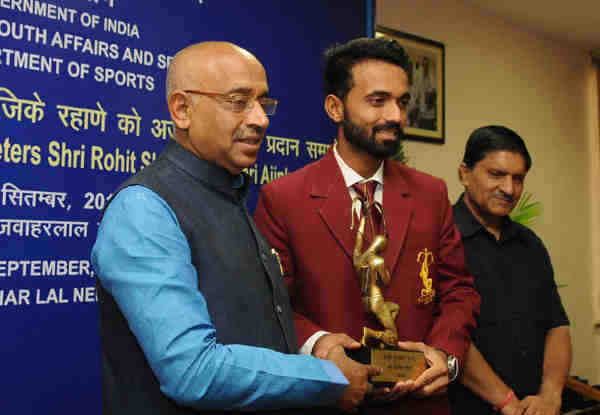 Cricketer Ajinkya Rahane receives Arjuna Award in New Delhi on September 16, 2016