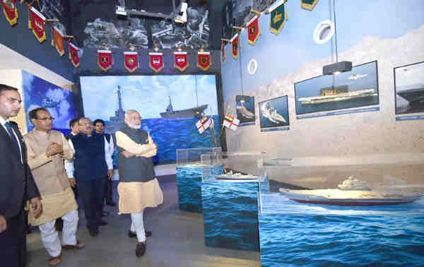Narendra Modi visiting the museum at Shaurya Smarak, in Bhopal, Madhya Pradesh on October 14, 2016