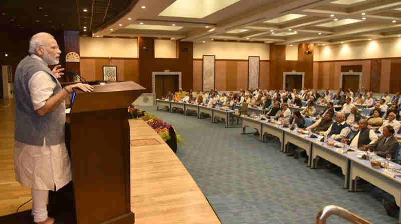 Narendra Modi meeting with Secretaries to the Government of India at Pravasi Bharatiya Kendra, in New Delhi on October 27, 2016