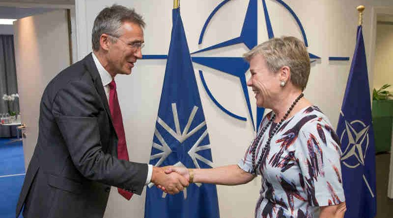 NATO Secretary General Jens Stoltenberg welcomes the new NATO Deputy Secretary General Rose Gottemoeller