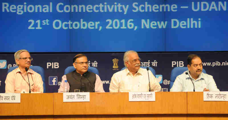 The Union Minister for Civil Aviation, Shri Ashok Gajapathi Raju Pusapati at the launch of the Regional Connectivity Scheme-UDAN of MoCA, in New Delhi on October 21, 2016