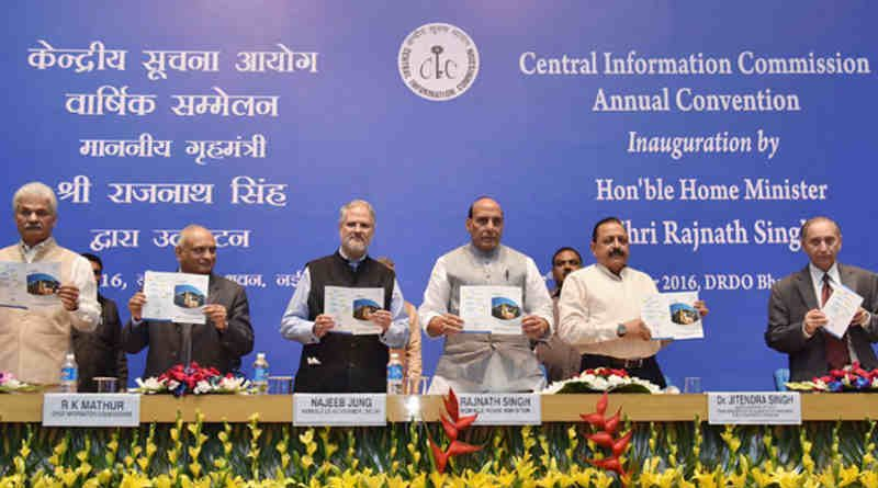The Union Home Minister, Rajnath Singh, at the inauguration of the 11th Annual Convention of Central Information Commission (CIC), in New Delhi on November 07, 2016. The Lt. Governor of Delhi, Najeeb Jung, the Minister of State for Development of North Eastern Region, Jitendra Singh, the Chief Information Commissioner, R.K. Mathur and other dignitaries are also seen. Photo: Press Information Bureau