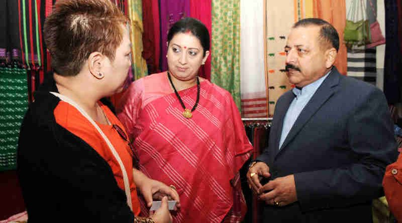 Smriti Irani and Jitendra Singh visiting the Purbashree Stall at Dilli Haat, INA, in New Delhi on November 28, 2016