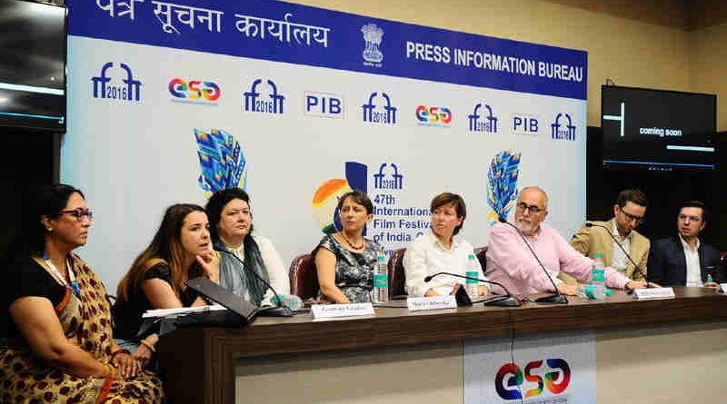 Cast and Crew of the opening film After Image interacting with the media, at the 47th International Film Festival of India (IFFI-2016), in Panaji, Goa on November 19, 2016.