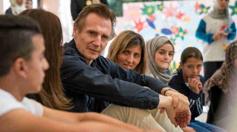 Actor Liam Neeson Meets Syrian Children in Jordan