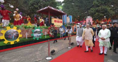 Narendra Modi visiting the exhibition at the Haryana Swarna Jayanti Celebration Ceremony venue, in Gurugram, Haryana on November 01, 2016. The Governor of Haryana, Prof. Kaptan Singh Solanki and the Chief Minister of Haryana, Shri Manohar Lal Khattar are also seen.