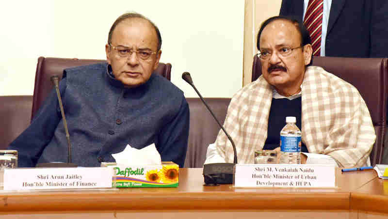 The Union Minister for Finance and Corporate Affairs, Shri Arun Jaitley and the Union Minister for Urban Development, Housing & Urban Poverty Alleviation and Information & Broadcasting, Shri M. Venkaiah Naidu at a meeting about proposed reforms for improving Ease of Doing Business in India, in New Delhi on December 19, 2016.