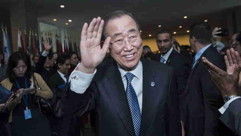 Secretary-General Ban Ki-moon bids farewell to delegates, staff, senior advisers, and other well-wishers at UN Headquarters in New York. UN Photo / Amanda Voisard
