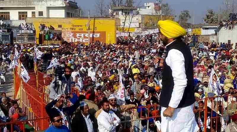 Bhagwant Mann addressing an election rally in Punjab on December 19, 2016