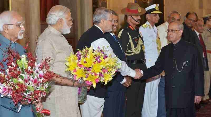 Lieutenant Governor of Delhi Najeeb Jung with Prime Minister and President of India