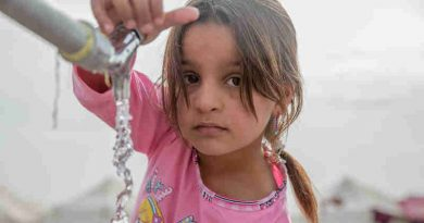 "A young girl from Mosul takes water from a tap stand at a UNICEF-supported Temporary Learning Space in Hassan Sham Displacement Camp, Ninewa Governorate. ""I like it here because we've been out of school for two years,"" she said. Photo: UNICEF (Representational image)"
