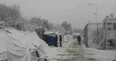 Migrant and asylum seeker camp on the Greek island of Lesvos covered in snow as icy temperatures and heavy snowstorms affect region. Photo: IOM 2017