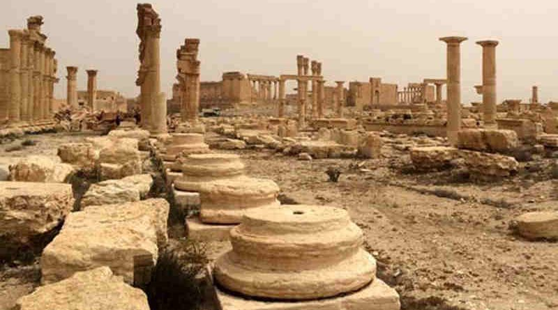 Destruction shown in April 2016 at the World Heritage site of Palmyra in Syria. Photo: ©UNESCO
