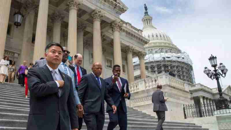 Congressman Lieu joins civil rights leader Congressman John Lewis and House Democrats during the House Democrats Sit-In on Gun Control