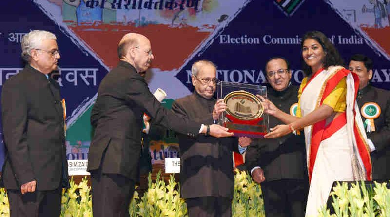 The President, Shri Pranab Mukherjee gave away the National Awards for the Best Electoral Practices, at the 7th National level function of the National Voters' Day (NVD), in New Delhi on January 25, 2017.