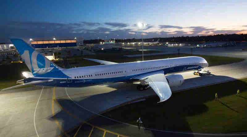 The first 787-10 Dreamliner rolls out for its debut at Boeing South Carolina.