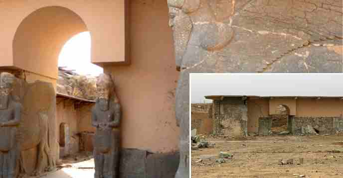 Entrance of the Palace in Nimrud, Iraq, before and after destruction in 2015. Photo: UNESCO