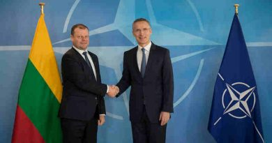 Lithuanian Prime Minister Saulius Skvernelis with NATO Secretary General Jens Stoltenberg