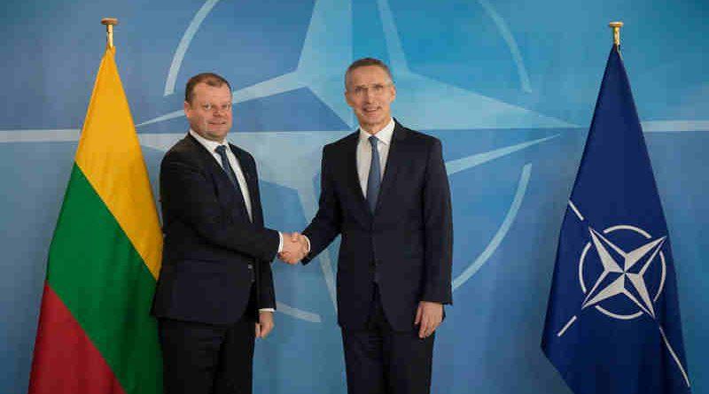 Lithuanian Prime Minister Saulius Skvernelis with NATO Secretary General Jens Stoltenberg