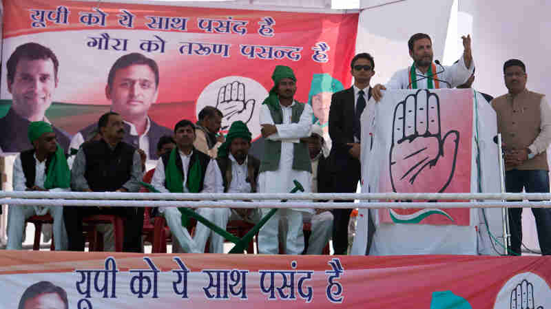 Rahul Gandhi at an Election Rally in U.P. Photo: Congress