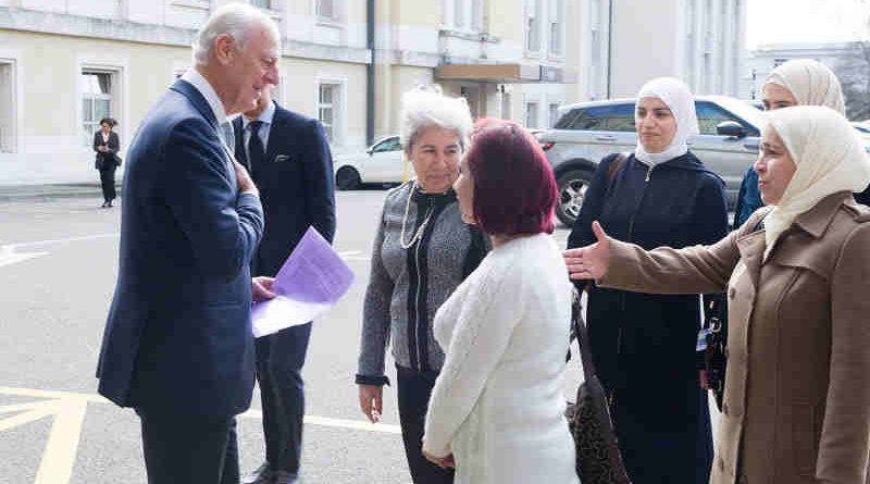 United Nations Special Envoy for Syria Staffan de Mistura welcomes a delegation of Syrian women during the Intra-Syrian talks, Geneva. 23 February 2017. UN Photo/Violaine Martin