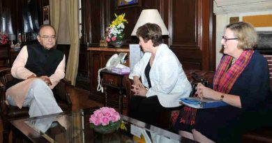 The Chief Executive Officer (CEO) of the World Bank to India, Ms. Kristalina Georgieva calls on the Union Minister for Finance and Corporate Affairs, Shri Arun Jaitley, in New Delhi on March 01, 2017.