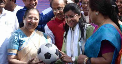 The Speaker, Lok Sabha, Smt. Sumitra Mahajan presented the footballs to Members of Parliament as part of the Mass Awareness Programme launched by the Ministry of Youth Affairs and Sports to reach out to XI Million Children to create football fever across the country, at Parliament House, in New Delhi on March 29, 2017.