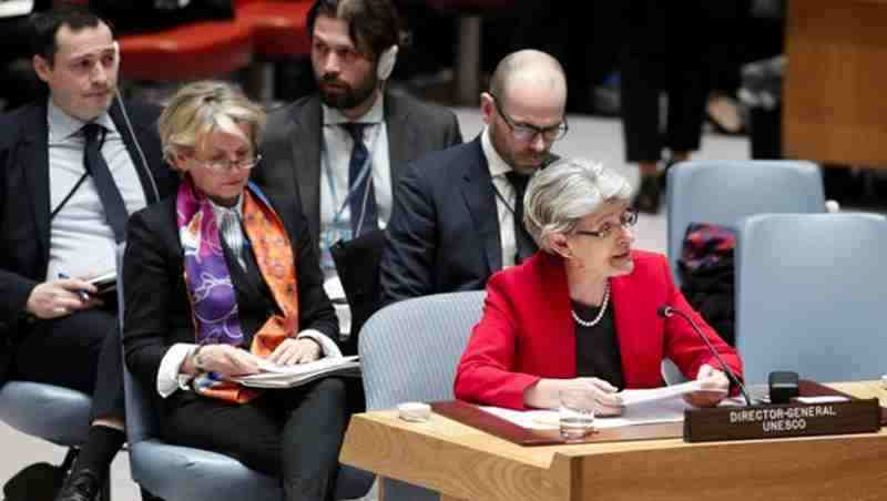 UNESCO Director-General Irina Bokova addressed the public briefing of the United Nations Security Council