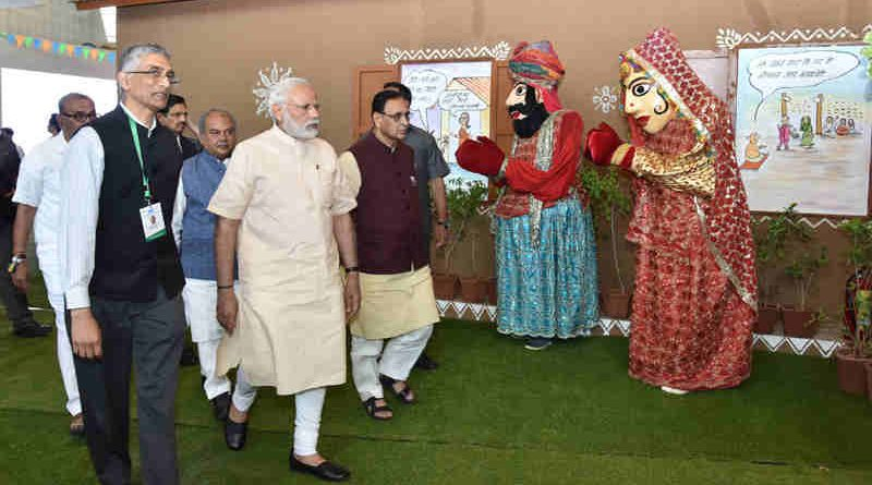 Narendra Modi visits the exhibition at 'Swachh Shakti 2017' - A Convention of Women Sarpanches, in Gujarat on March 08, 2017