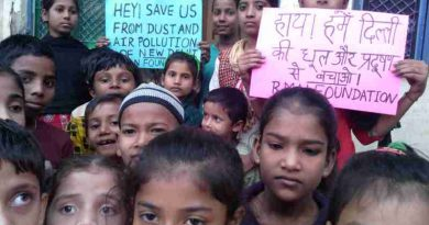 Children affected by dust and air pollution at the RMN Foundation free school for deserving children in Delhi. Photo by Rakesh Raman. Click the photo to meet the RMN Foundation School Children.