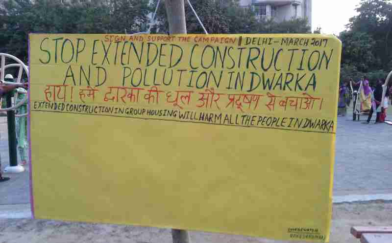 Campaign to stop extended construction and pollution in Dwarka. New photo by Rakesh Raman. Photo added to this article on March 20, 2017.