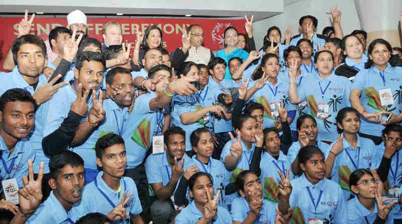 Vijay Goel at the send-off ceremony for the team of Special Olympics Bharat for participation in World Winter Games 2017 in Austria, in New Delhi on March 10, 2017