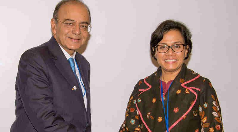 Arun Jaitley in a bilateral meeting with the Finance Minister of Indonesia, Mulyani Indrawati, on the sidelines of the Spring Meetings of World Bank and IMF, in Washington D.C. on April 21, 2017