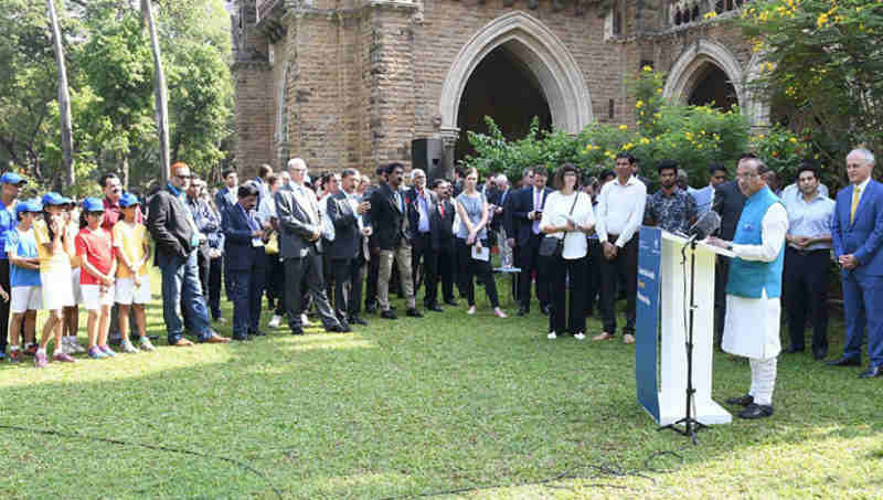 Vijay Goel addressing at the launch of the India-Australia Sports Partnership, in Mumbai on April 12, 2017