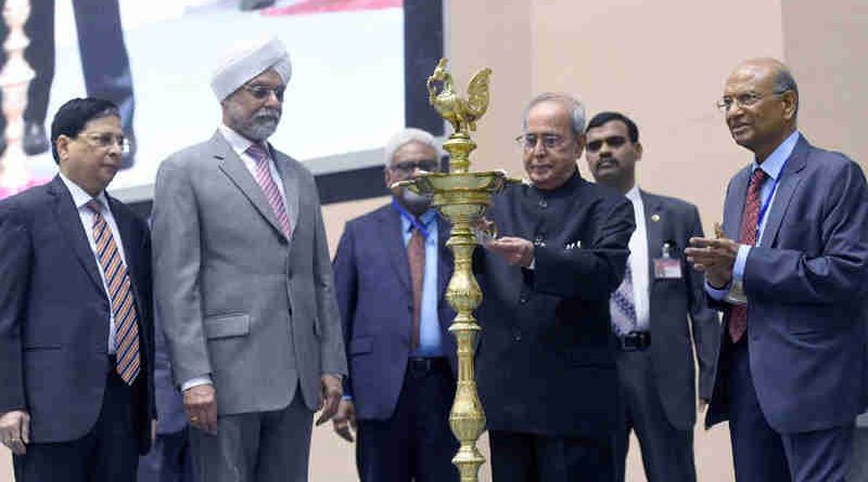 "The President, Shri Pranab Mukherjee lighting the lamp at the inauguration of the All India Seminar on ""Economic Reforms with Reference to Electoral Issues"", organised by the Confederation of the Indian Bar, in New Delhi on April 08, 2017. The Chief Justice of India, Shri Justice J.S. Khehar and other dignitaries are also seen."