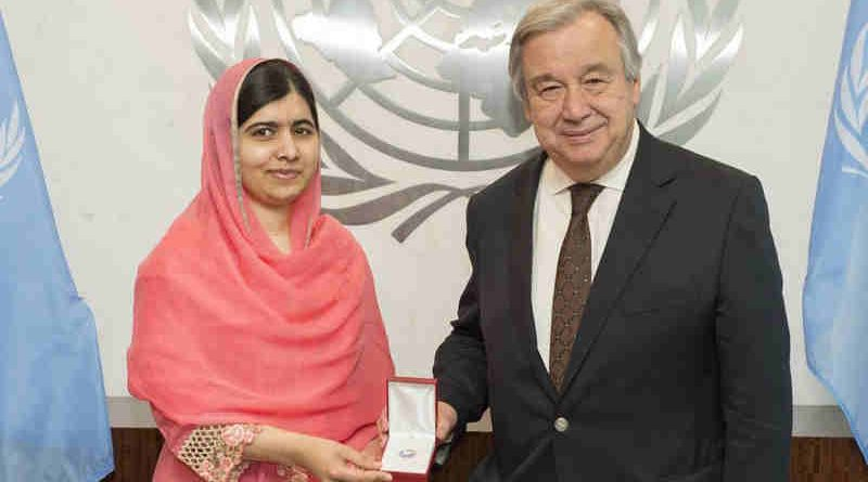Secretary-General António Guterres designates children's rights activist and Nobel Laureate Malala Yousafzai as a UN Messenger of Peace. UN Photo / Eskinder Debebe