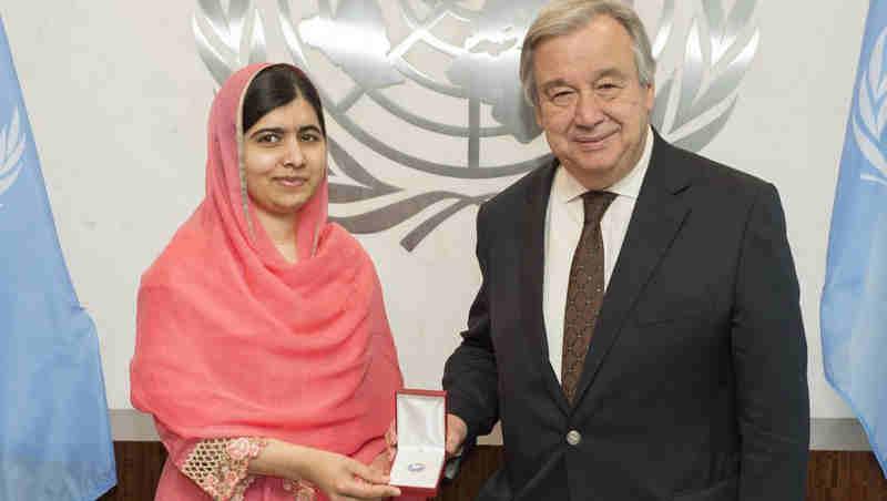 Secretary-General António Guterres designates children's rights activist and Nobel Laureate Malala Yousafzai as a UN Messenger of Peace. UN Photo / Eskinder Debebe