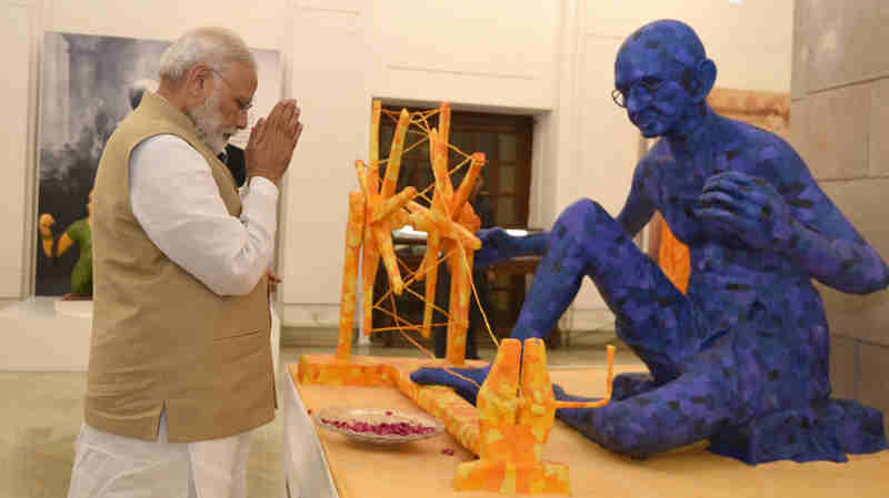 "Narendra Modi visiting the exhibition titled ""Swachchhagrah – Bapu Ko Karyanjali - Ek Abhiyan, Ek Pradarshani"", to mark the 100 years of Mahatma Gandhi's first experiment of Satyagraha in Champaran, organised by the National Archives of India, in New Delhi on April 10, 2017"