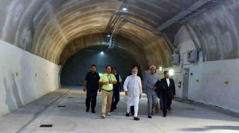Narendra Modi visiting after inaugurating the Chenani-Nashri Tunnel, in Jammu and Kashmir on April 02, 2017