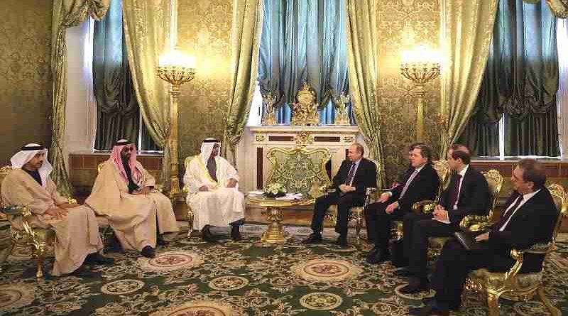 Vladimir Putin met at the Kremlin with Crown Prince of Abu Dhabi and Deputy Supreme Commander of the United Arab Emirates (UAE) Armed Forces Mohammed Al Nahyan.
