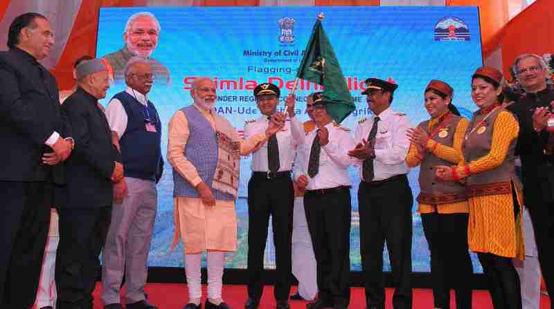 Narendra Modi, today launched UDAN – the Regional Connectivity Scheme for civil aviation, from Shimla Airport.