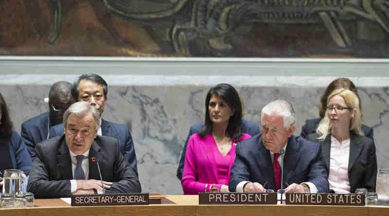 Secretary-General António Guterres (left) addresses the Security Council ministerial-level meeting on the nuclear weapon and ballistic missile programmes of the Democratic People's Republic of Korea (DPRK). At right is Rex W. Tillerson, US Secretary of State and President of the Security Council for April. UN Photo / Eskinder Debebe