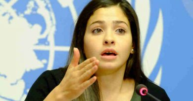 Syrian refugee Yusra Mardini, speaking in Geneva on her appointment as UNHCR Goodwill Ambassador. UN Photo / Daniel Johnson