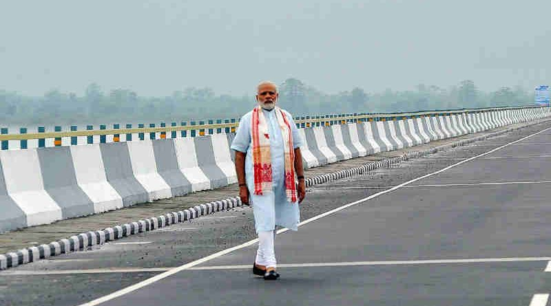 PM Narendra Modi at the Dhola-Sadia Bridge, across River Brahmaputra, in Assam on May 26, 2017 (file photo). Courtesy: PIB